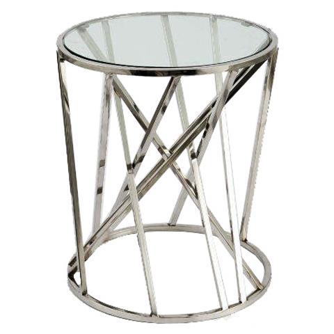 Stolik Metalowy Kawowy Okrągły Blat Szklany Canpol Bis