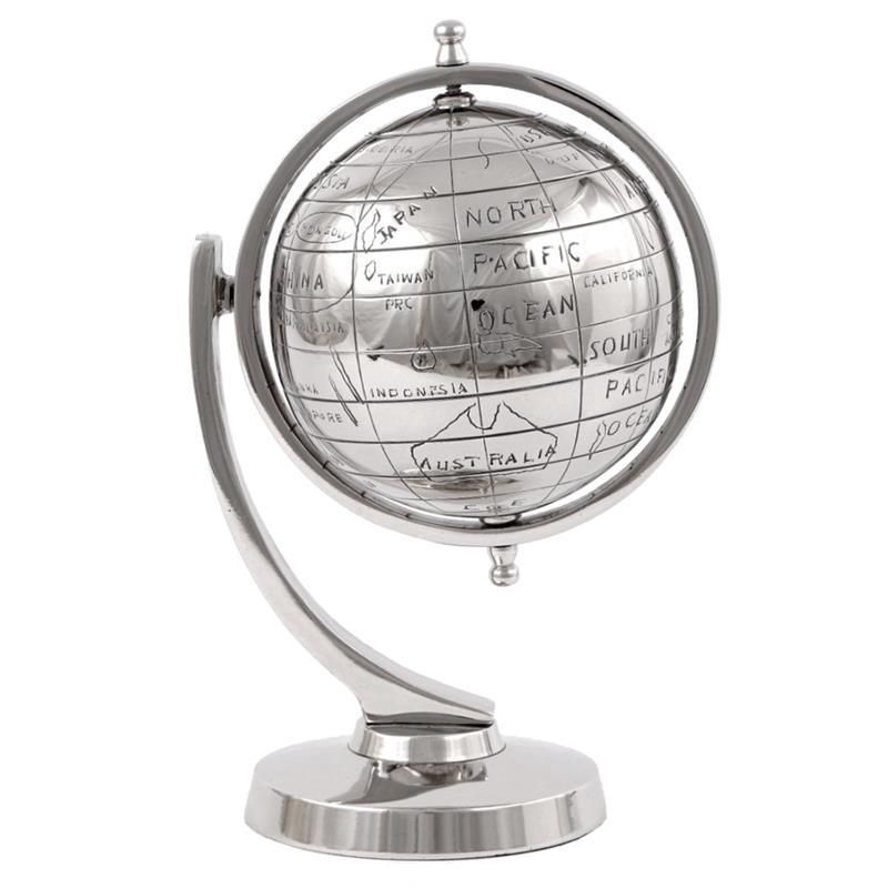 Globus dekoracyjny metalowy wysoki polysk